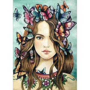 Diamond Painting-5D Full Round Drill Butterfly Girl