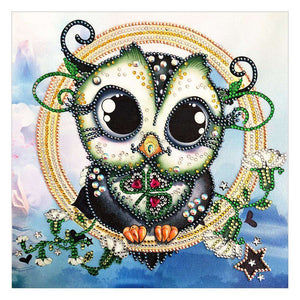 Diamond Painting-DIY Crystal Rhinestone Owl Gentleman
