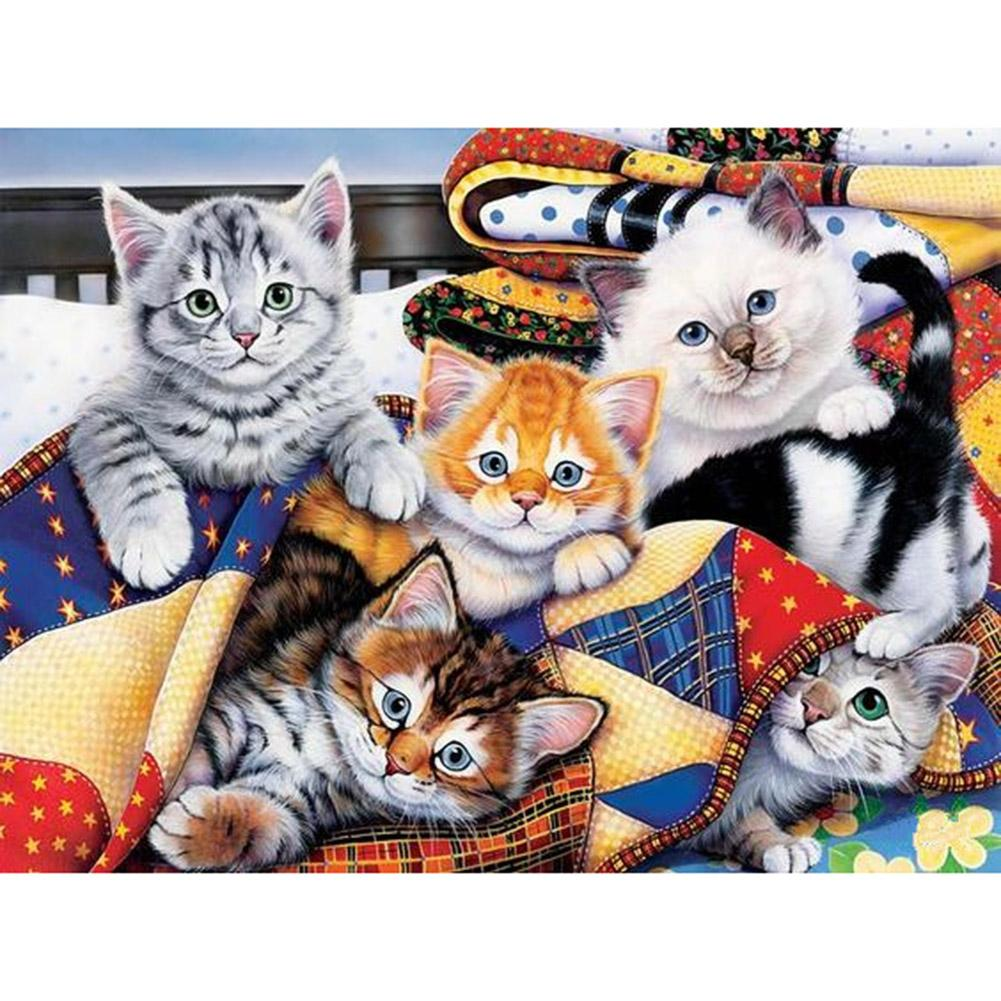 Diamond Painting-5D Full Round Drill Cats