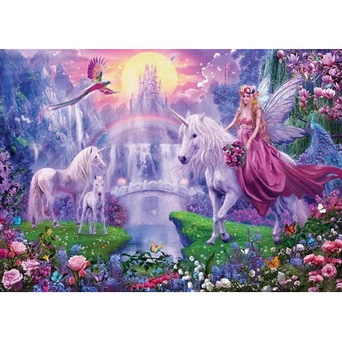 Diamond Painting-5D Full Round Drill Fantasy Fairy and Horse