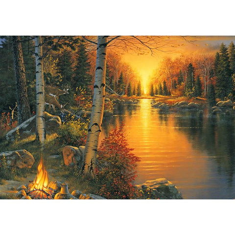 Diamond Painting-5D Full Round Drill Sunset Landscape
