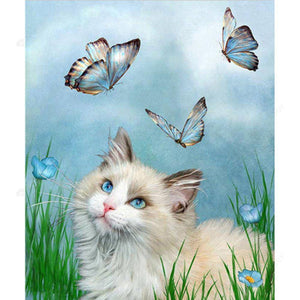 Diamond Painting-5D Full Drill Cat Butterfly