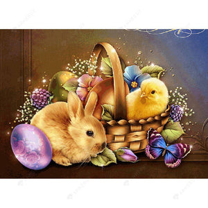 Diamond Painting-5D Full Drill Easter Chick Rabbit