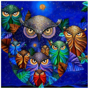 Diamond Painting-Full Round Drill Owl Family
