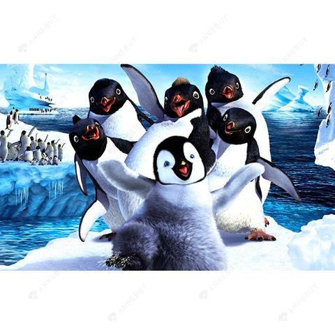 Diamond Painting-5D Full Drill Cartoon Penguin