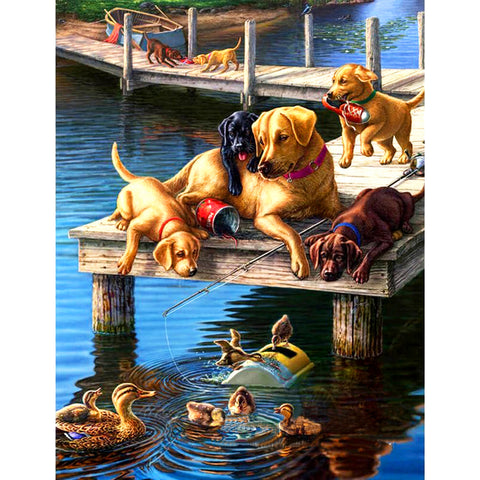 Diamond Painting-5D Full Round Drill Dogs and Ducks