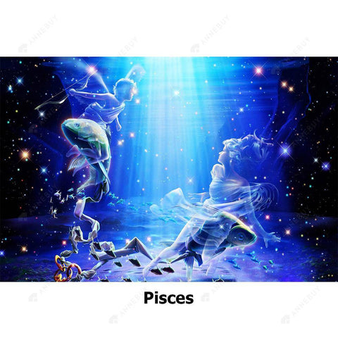 Diamond Painting-5D Full Round Drill Constellation Pisces