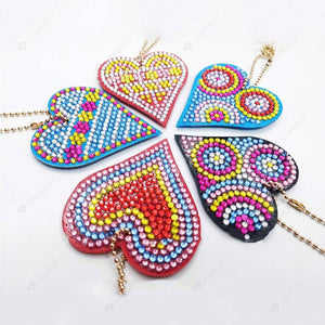 DIY Diamond Painting Keychain-5pcs/set Love Heart Keychain Key Ring Gift