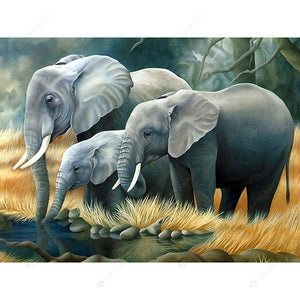 Diamond Painting-5D Full Drill Round Beads Elephant Family