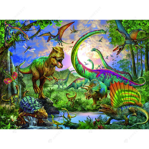 Diamond Painting-DIY Full Round Drill Forest Dinosaurs