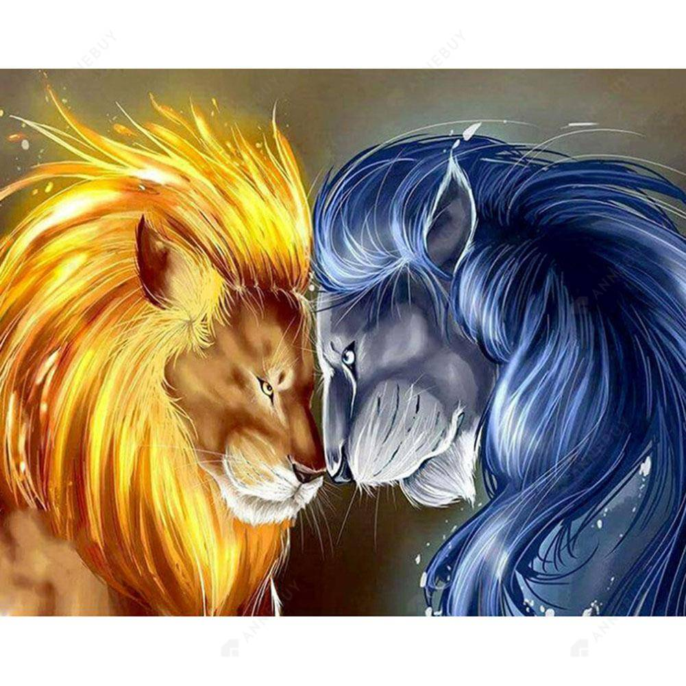 Diamond Painting-DIY Full Drill Round Beads Lions Battle