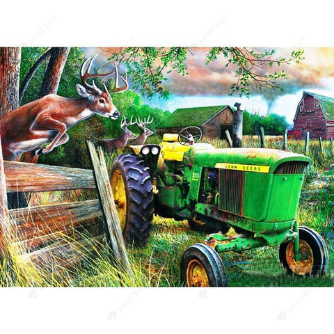 Diamond Painting-5D Full Round Drill Farm Deer and Tractor