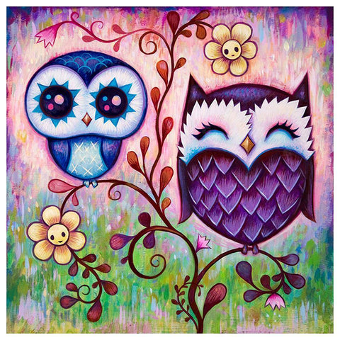 Diamond Painting-5D Full Round Drill Cartoon Owl