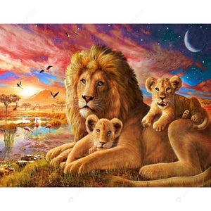 Diamond Painting-DIY Partial Drill Round Beads Lions Family