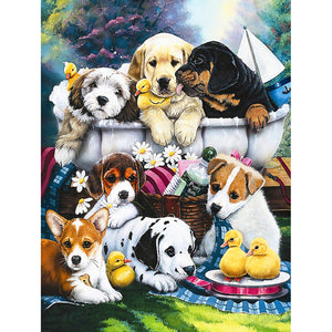 Diamond Painting-5D Full Round Drill Dogs