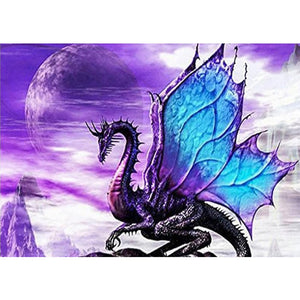 Diamond Painting-5D Full Round Drill Purple Dragon
