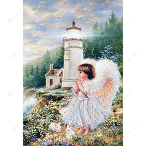 Diamond Painting-DIY Full Round Drill Lighthouse and Angel Girl