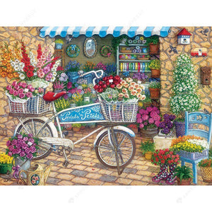 Diamond Painting-DIY Full Round Drill Flower Store and Bike
