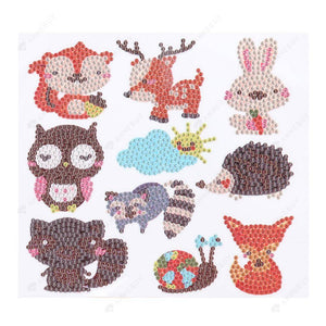 Diamond Painting Stickers-5D Full Round Drill Forest Animals