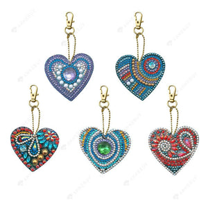 DIY Diamond Painting Keychain-5pcs/set DIY Full Drill Crystal Rhinestone Love Heart Diamond Painting Keychain Pendant