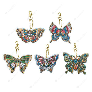 DIY Diamond Painting Keychain-5pcs/set DIY Full Crystal Rhinestone Butterfly Keychain Pendant Kits
