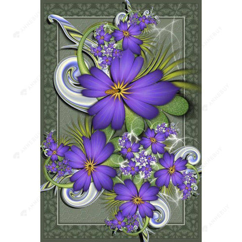 Diamond Painting-DIY Full Round Drill Purple Flowers