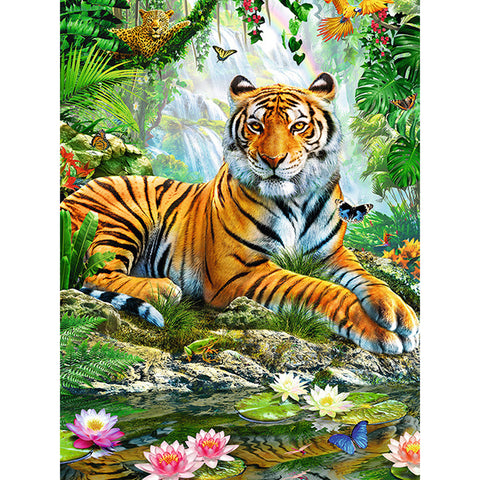 Diamond Painting-5D Full Round Drill Tiger in the Forest