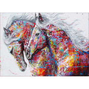 Diamond Painting-5D Full Round Drill Colorful Horse