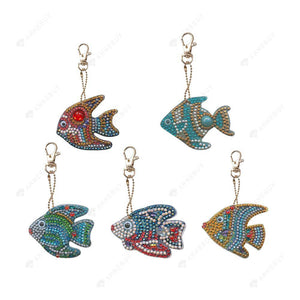 DIY Diamond Painting Keychain-5pcs Cartoon Fish Keyring Cross Stitch Keychain Decor