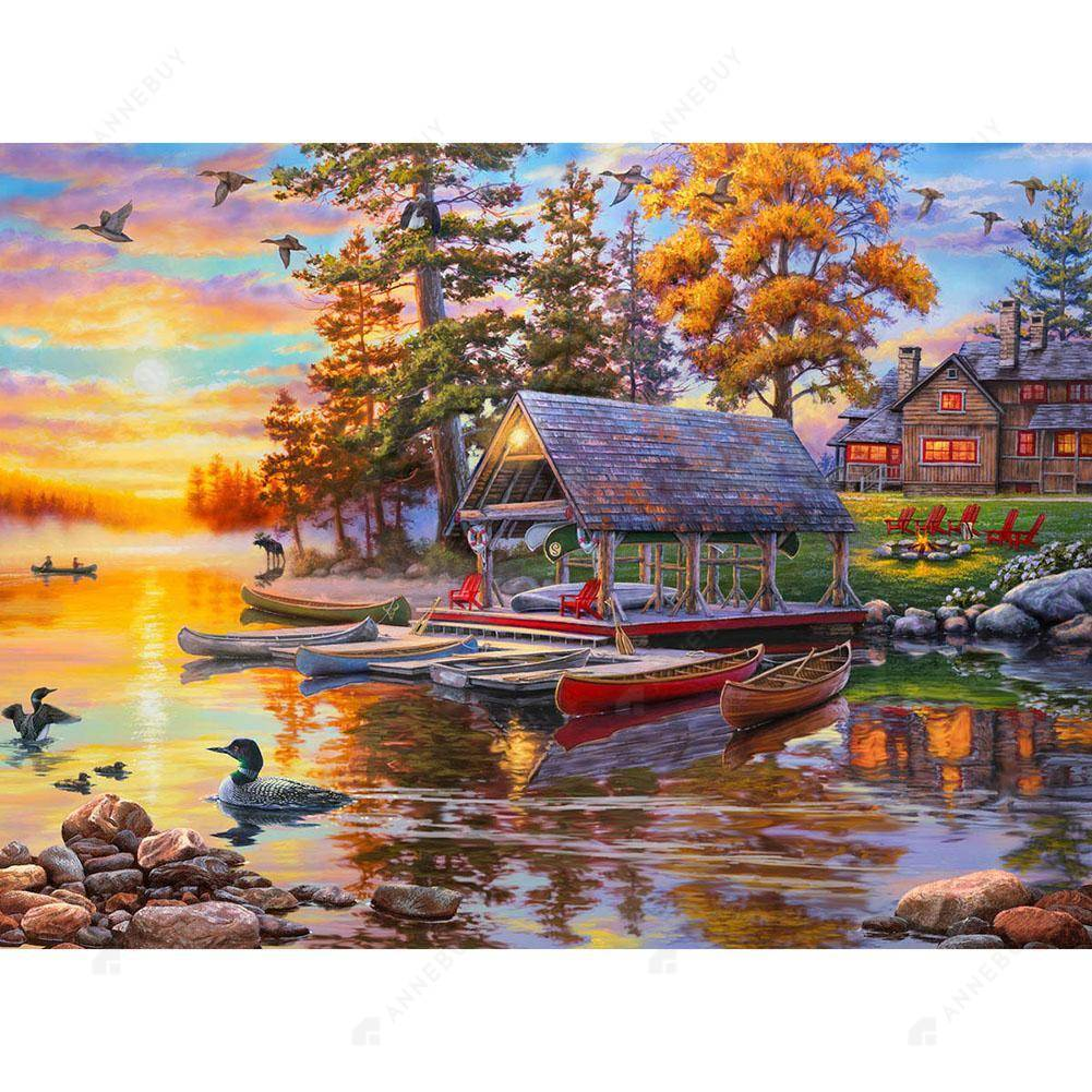 Diamond Painting-DIY Full Drill Round Beads Fishing Boat in the Sunset