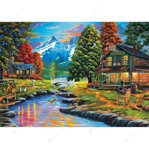 Diamond Painting-DIY Full Round Drill Country Stream and Cabin