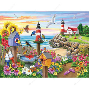 Diamond Painting-DIY Full Drill Round Beads Seaside Beach Garden