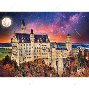Diamond Painting-DIY Full Drill Round Beads Castle Under The Moon