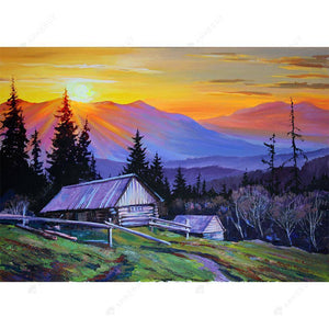 Diamond Painting-DIY Full Drill Round Beads Countryside Mountain Sunrise