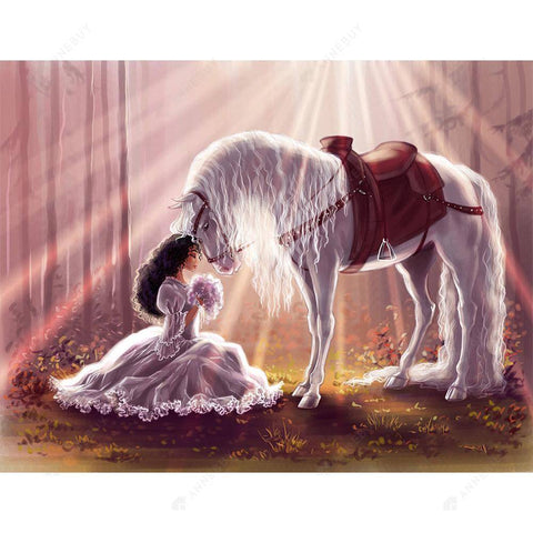 Diamond Painting-DIY Full Round Drill Horse and Princess