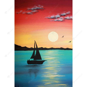 Diamond Painting-DIY Full Drill Round Beads River Sunset