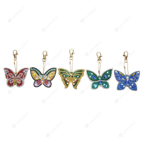 DIY Diamond Painting Keychain-5pcs Butterfly DIY Full Drill Crystal Rhinestone Gift