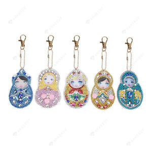 DIY Diamond Painting Keychain-5pcs/set Beauty DIY Crystal Rhinestone Key Ring Gift