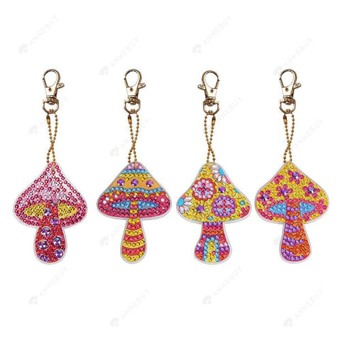 DIY Diamond Painting Keychain-4pcs/set Mushroom DIY Full Drill Crystal Rhinestone Key Rings Gift