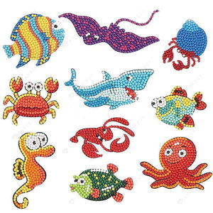 Diamond Painting Stickers-5D Full Round Drill Marine Life