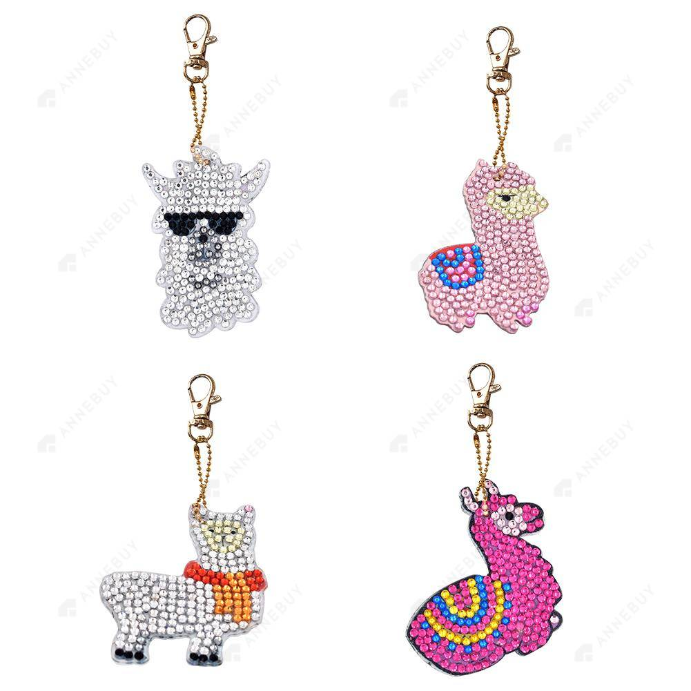 DIY Diamond Painting Keychain-4pcs/Set Animal Resin Women Bag Keychain Jewelry Gift