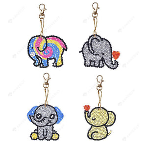DIY Diamond Painting Keychain-4pcs/Set Full Drill Cartoon Elephant Resin Bag Jewelry Gift