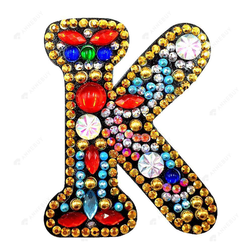 DIY Diamond Painting Keychain-Letter K Women Bag Keyring Pendant Gift