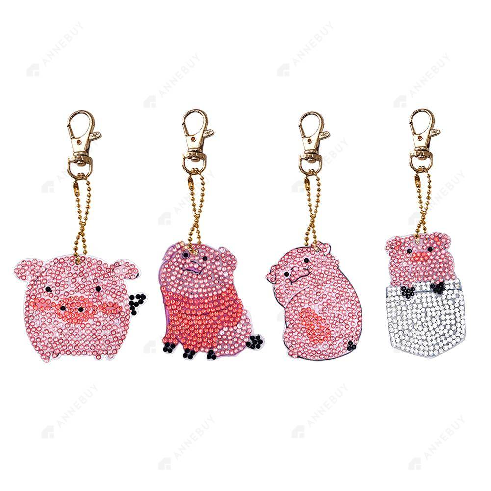 DIY Diamond Painting Keychain-4pcs/Set Cartoon Pig Resin Bag Keychain Jewelry Gift