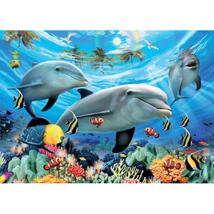 Diamond Painting-5D Full Round Drill Dolphin Family