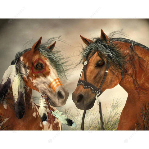 Diamond Painting-DIY Full Drill Round Beads Horses