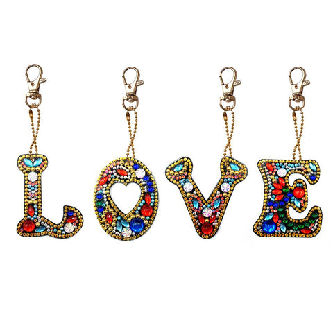 DIY Diamond Painting Keychain-Full Drill Love DIY Crystal Rhinestone Keychain Gifts
