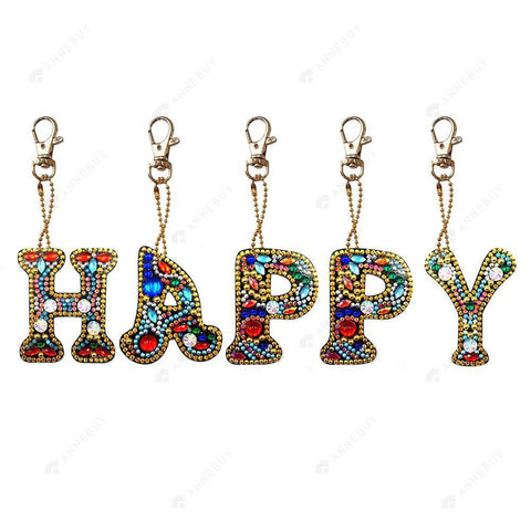 DIY Diamond Painting Keychain-Full Drill Happy DIY Crystal Rhinestone Keychain Gift