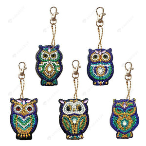 DIY Diamond Painting Keychain-5pcs/set Cartoon Owl Bag Pendant