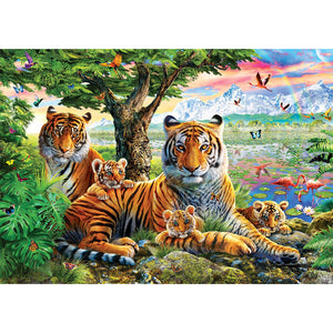 Diamond Painting-5D Full Round Drill Tiger Family
